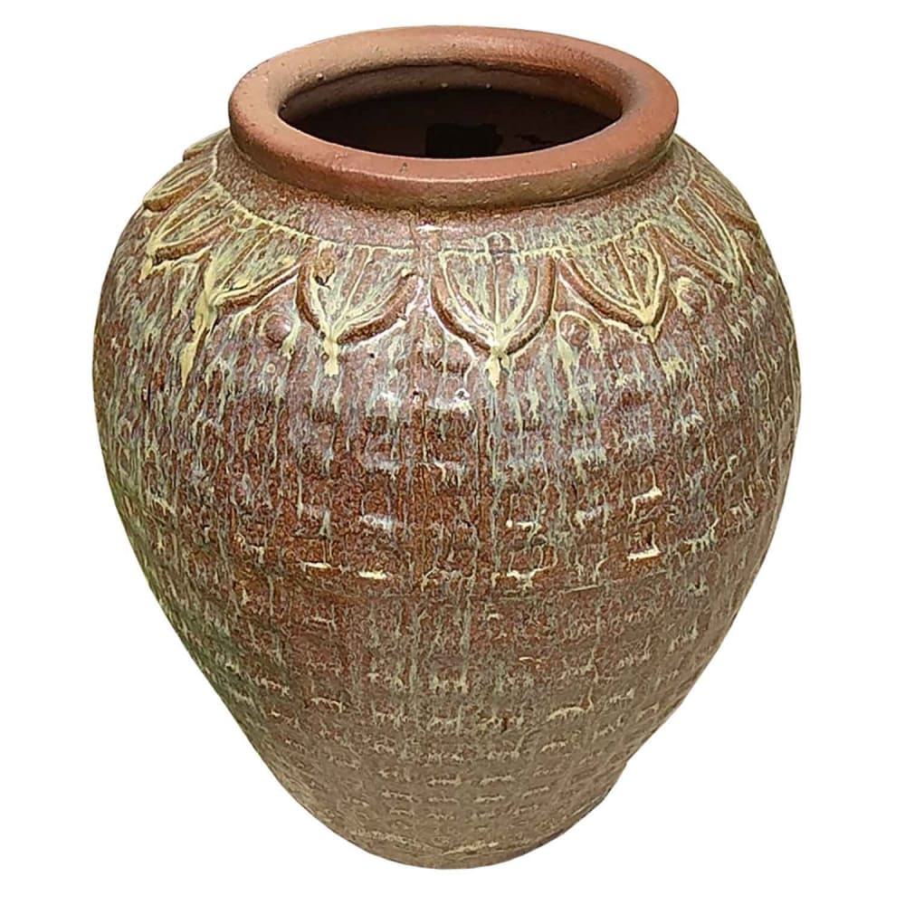 Vaso Vietnamita Cerâmica Oval Grande 72cmx50cmx25cm