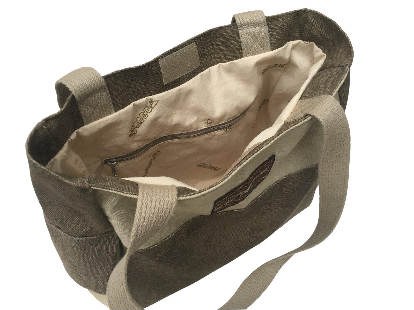KIT 2 Bolsas Feminina RISCA 6702 em Lona Algodão - 1 Caqui e 1 Verde