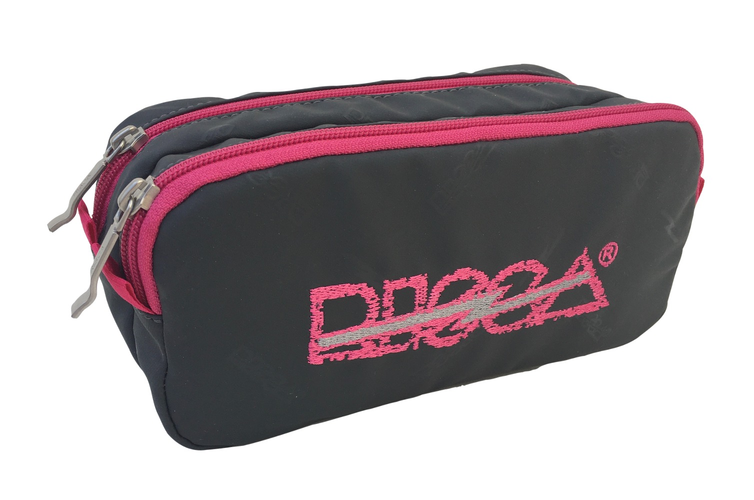 Necessaire Estojo Risca Duplo 5020 - Cinza Chumbo/Pink