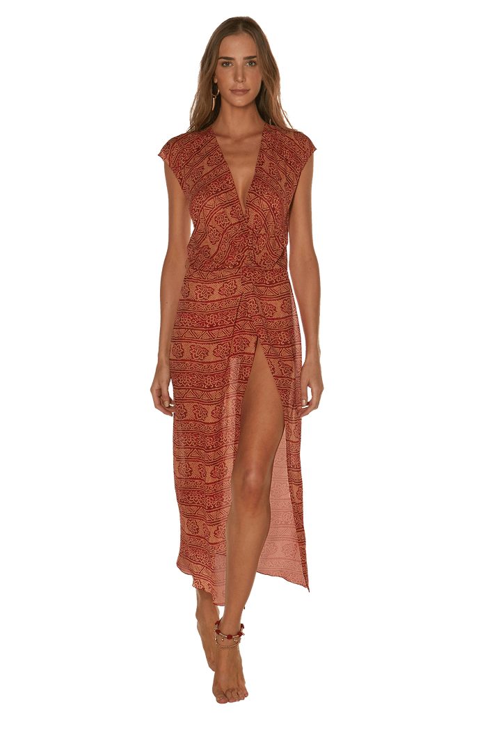 BANDHANI RED CAMILLE COVER UP VESTIDO