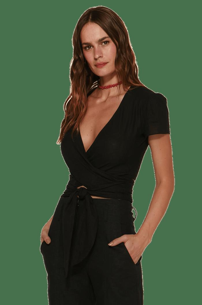 Blusa  transpassada com amarração vix