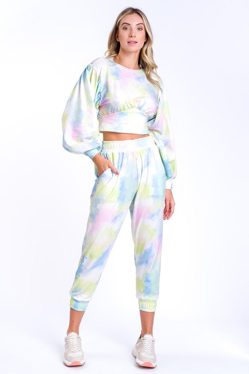 Calça CCM  Moletom Feminino Mdf-Tie Dye