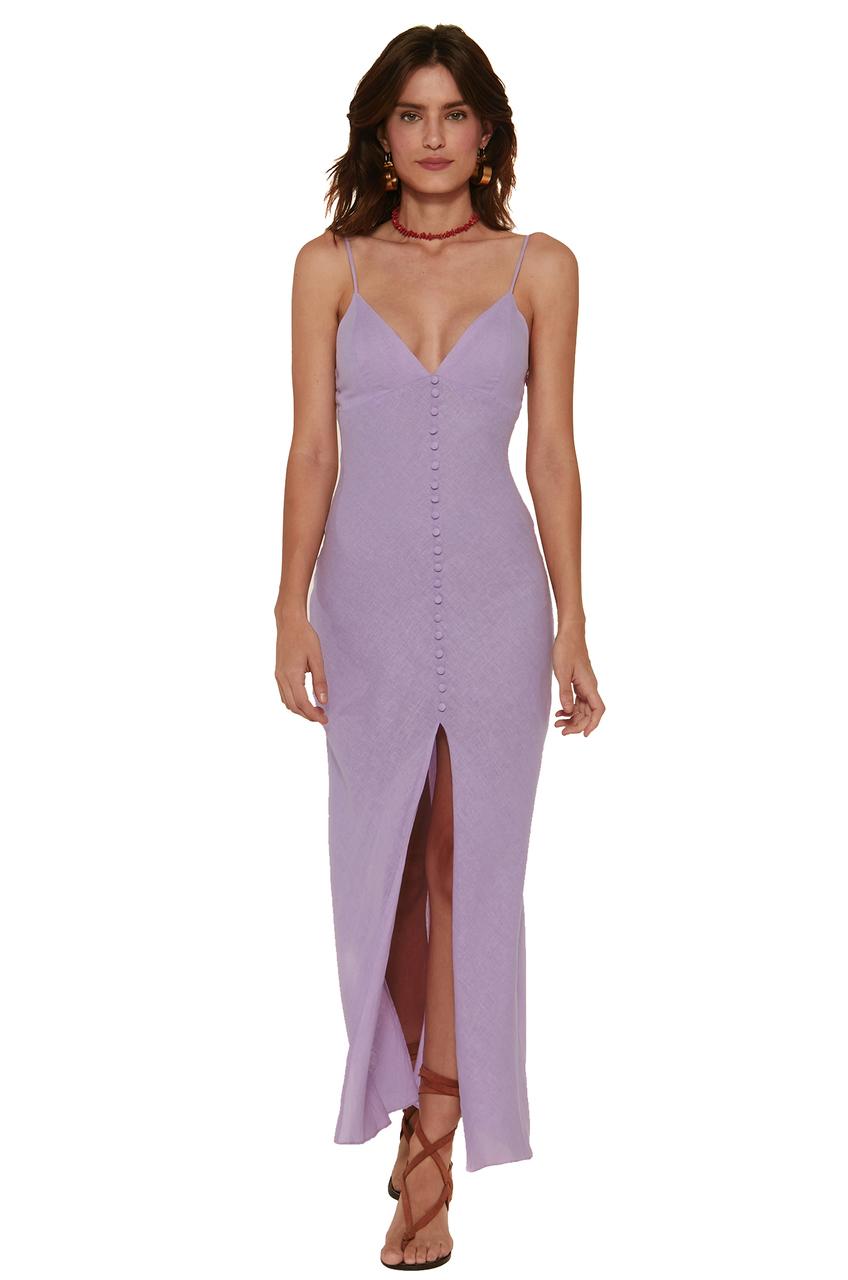 Vestido longo lilás com forro vix /sofia