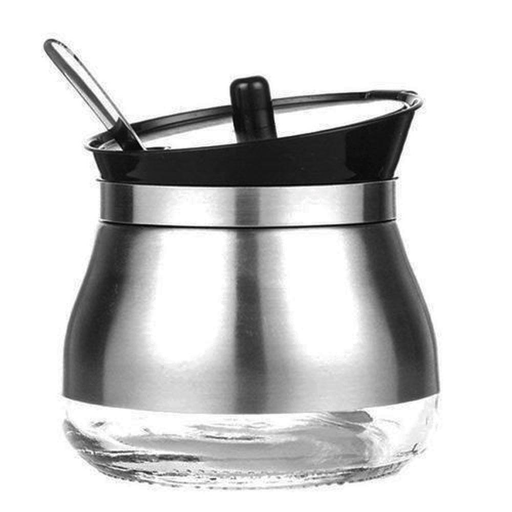 Açucareiro de Vidro c/ Revestimento e Colher em  Aço Inox