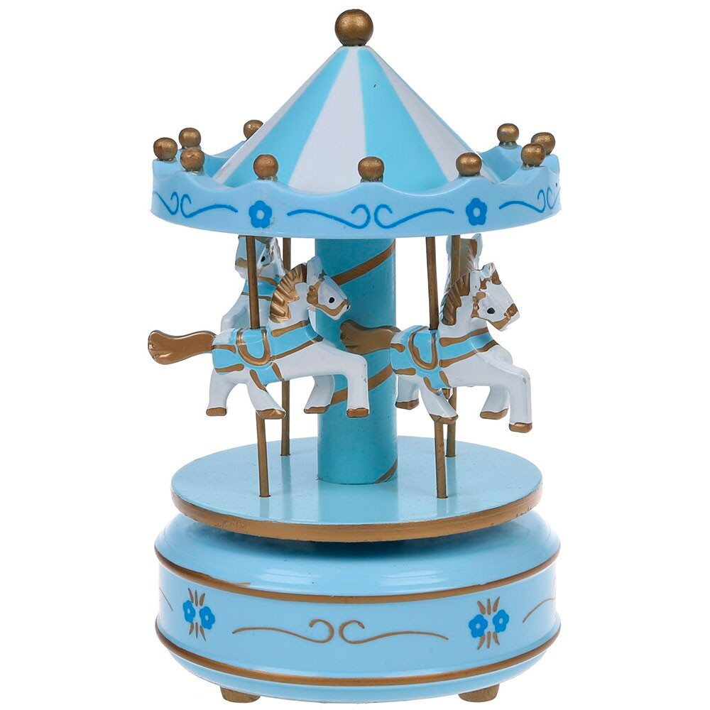 Caixa de Música Carrossel Giratório Infantil Azul