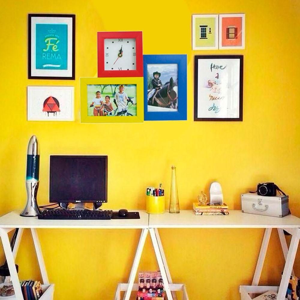 Conjunto  2 Porta Retratos Coloridos e Relógio Analógico