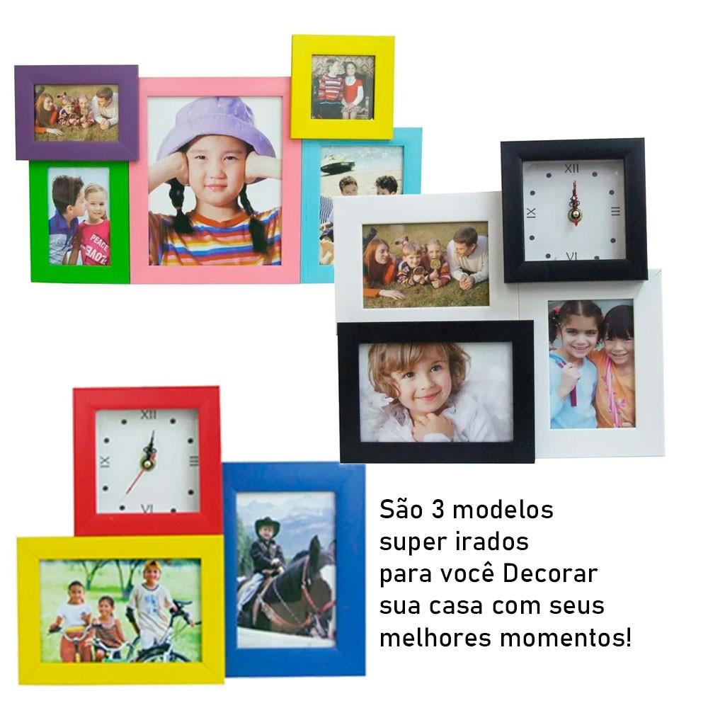 Conjunto com 3 Porta Retratos e Relógio Analógico