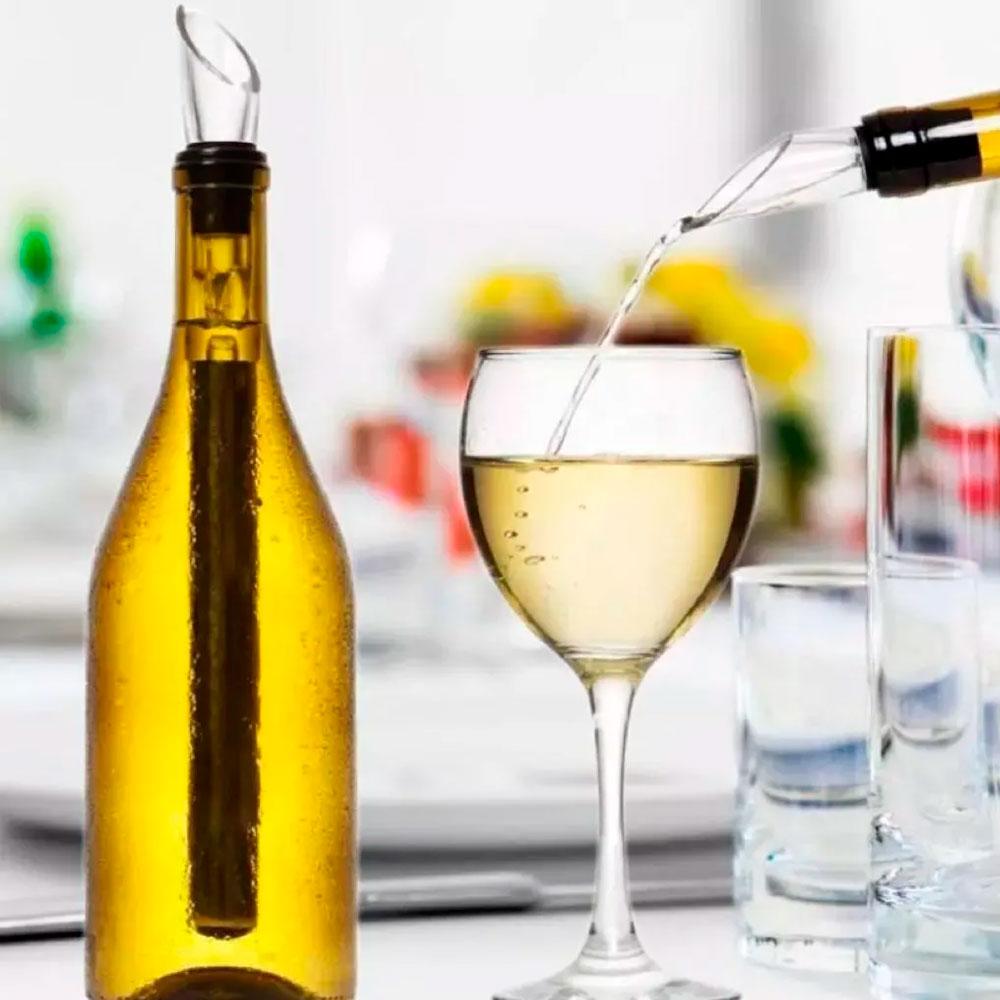 Kit c/ 2 Bastões Resfriadores de Vinho em Inox e 2 Aeradores