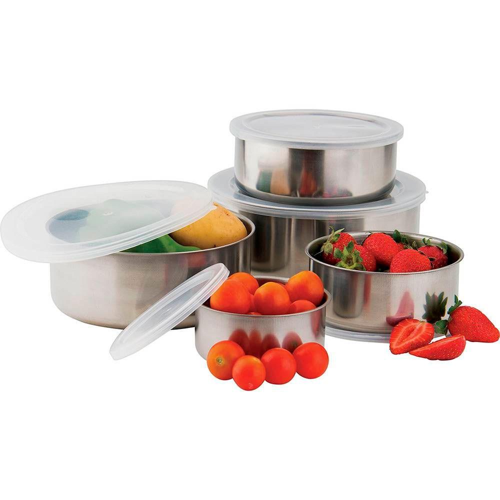Conjunto de Potes Aço Inox com Tampa 5 Peças Gourmet Mix