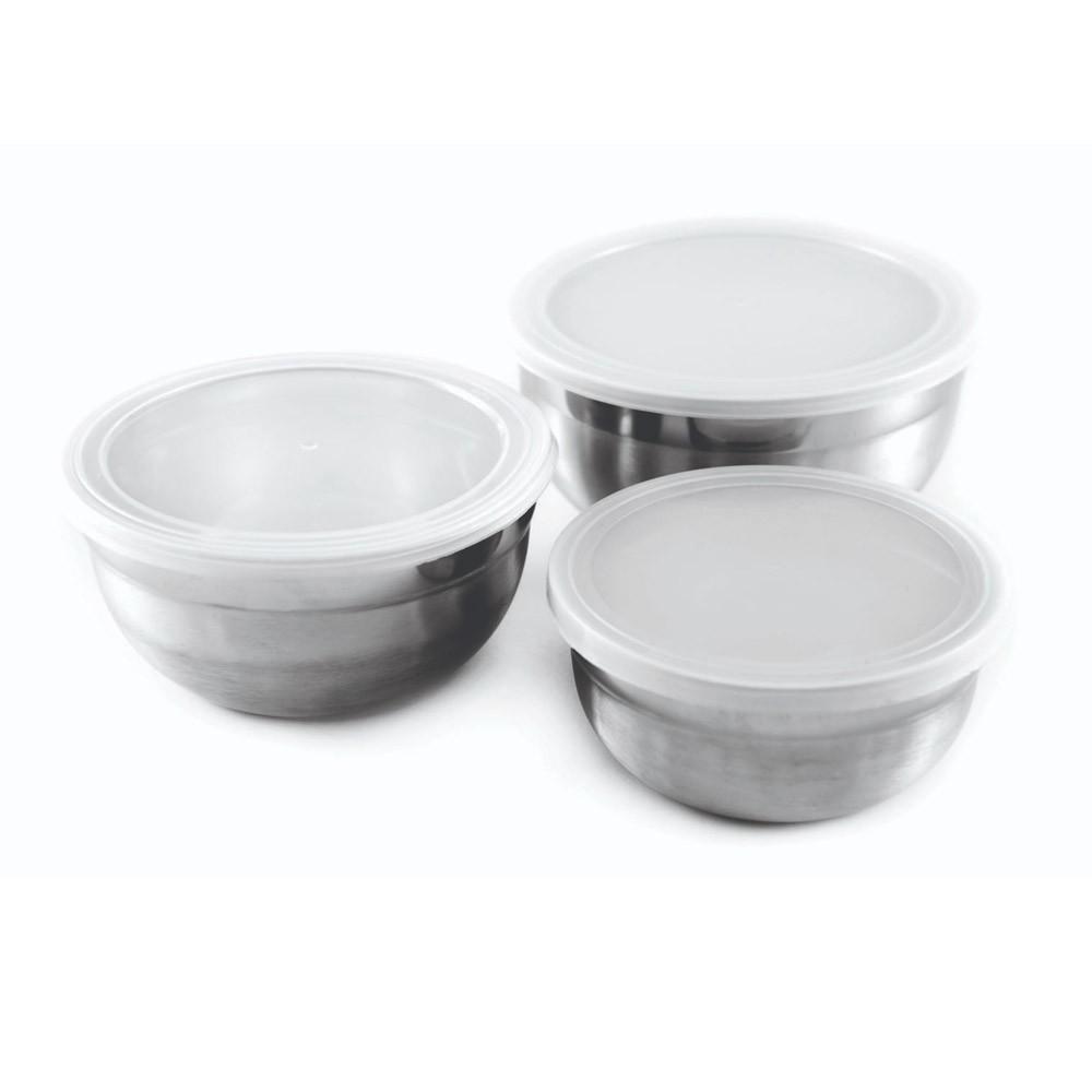 Conjunto de Potes Inox c/ Tampa 3 Peças Gourmet Mix