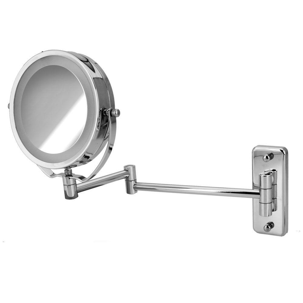 Espelho Articulado Led Dupla Face c/ 5x p/ Maquiar e Barbear