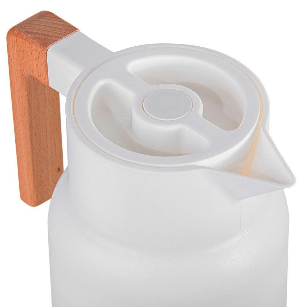 Garrafa Térmica Wood Fashion Branca 1l Termopro Glass