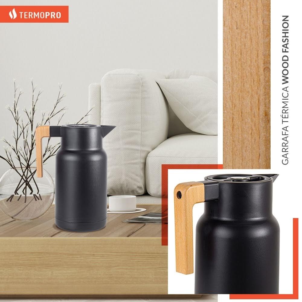 Garrafa Térmica Wood Fashion Preta 1l Termopro Glass