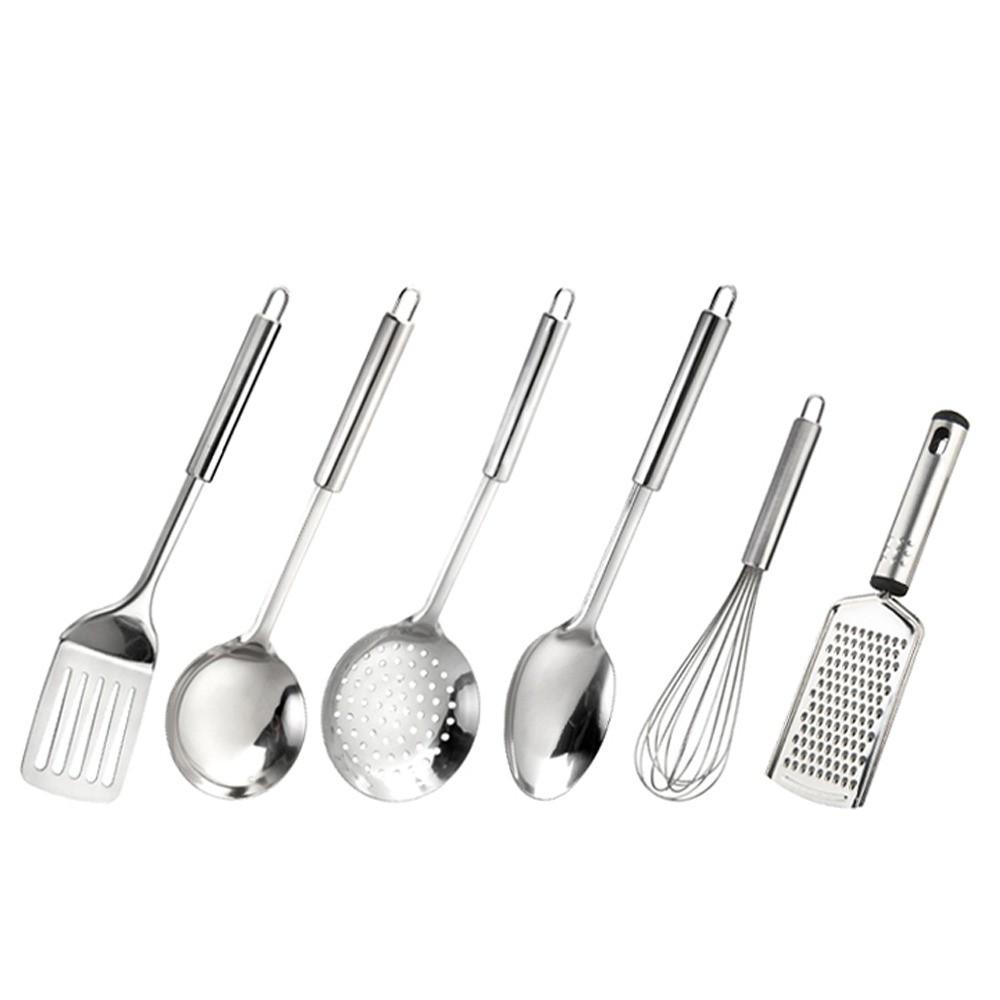 Jogo de Utensílios de Cozinha com 6 Peças em Aço Inox