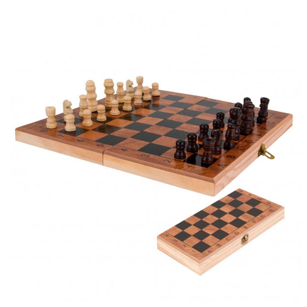 Jogo de Xadrez c/ Tabuleiro Dobrável em Madeira e Peças MDF