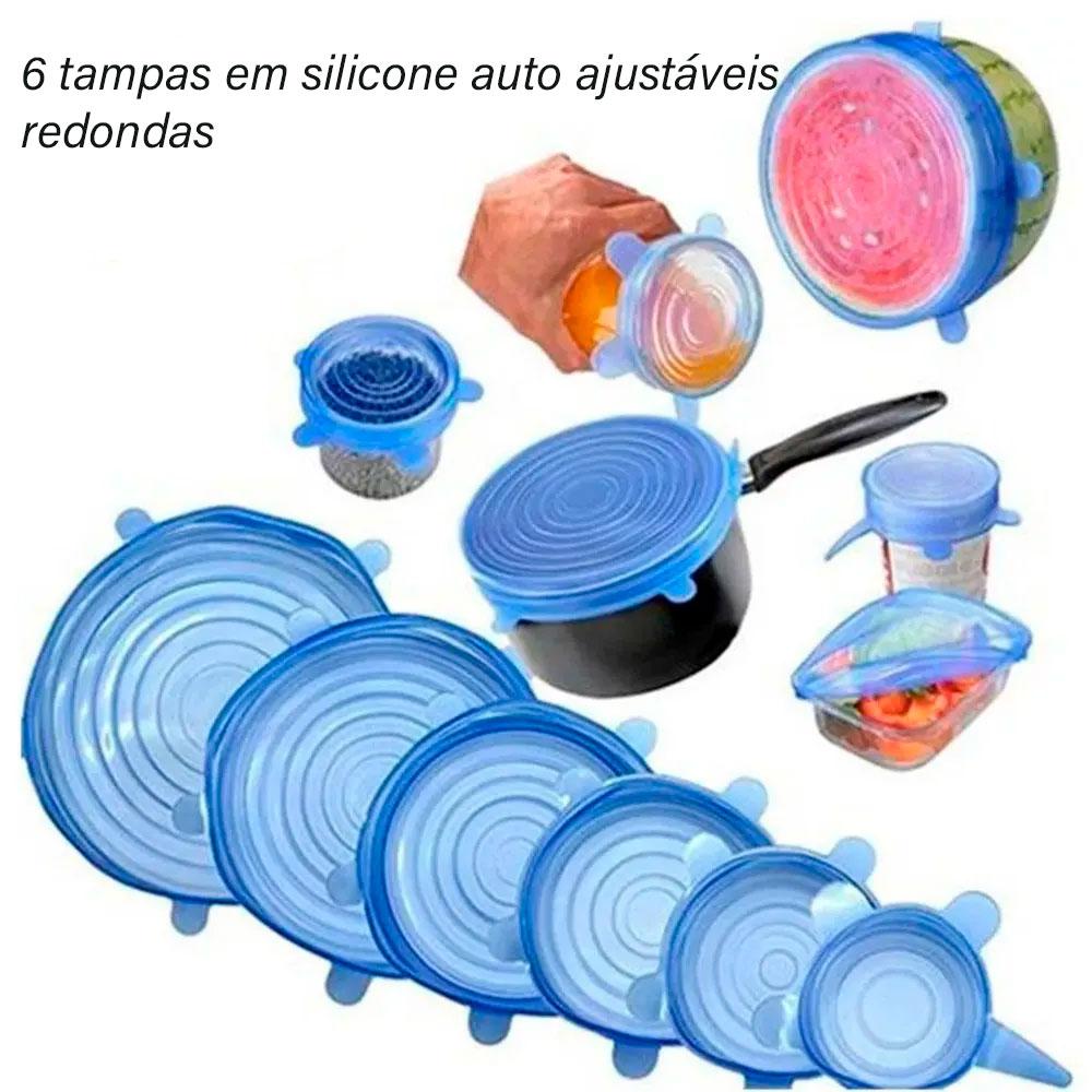 Kit com 24 Tampas Flexíveis de Silicone Redondas c/ 6 Tamanhos