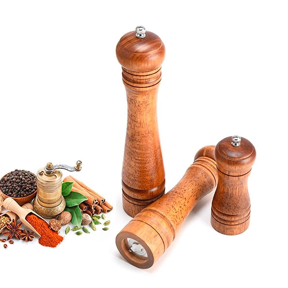 Kit com 2 Moedores de Sal ou Pimenta em MDF e Cerâmica 21 cm