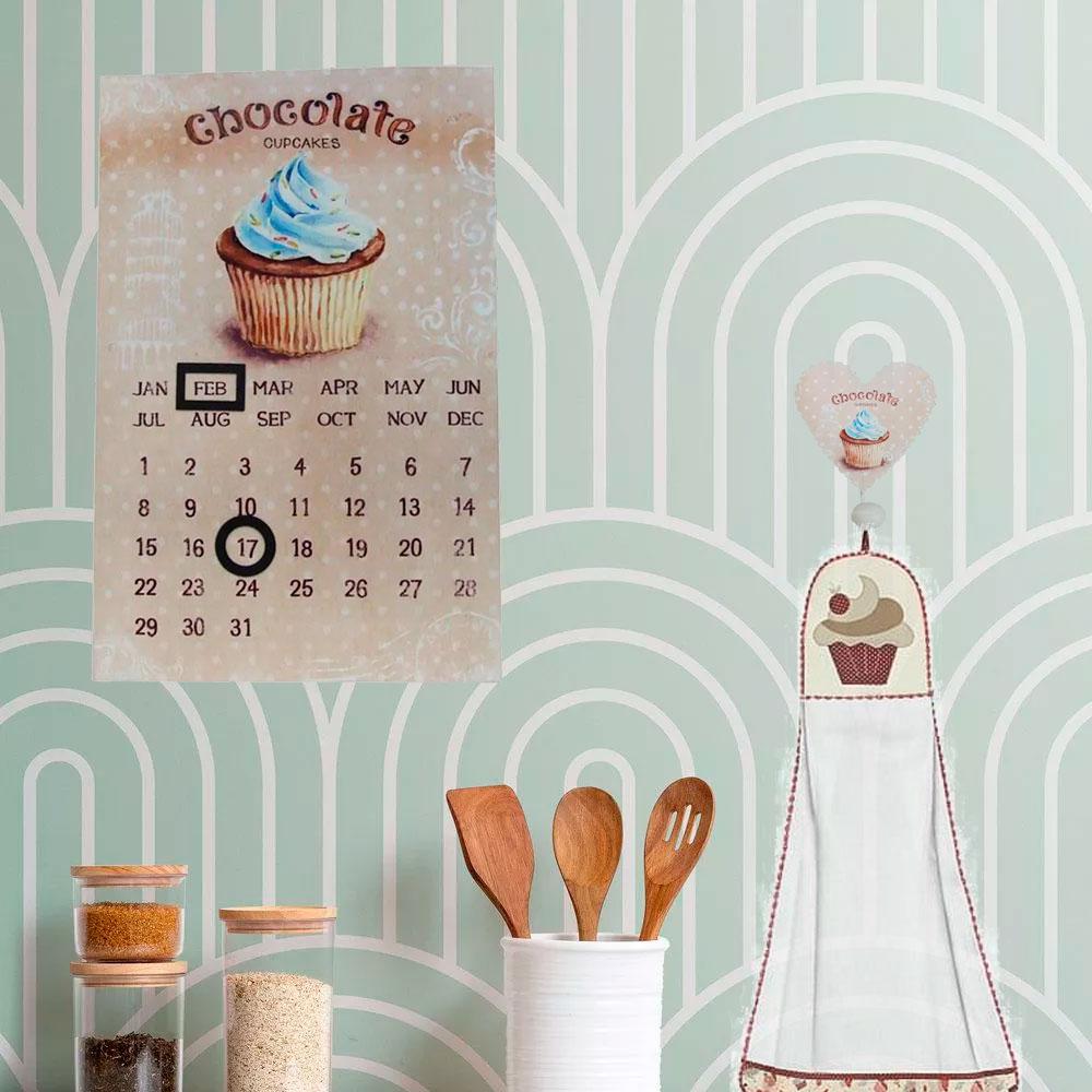 Kit com Calendário, Porta Panos Cabideiro Retrô Chocolate