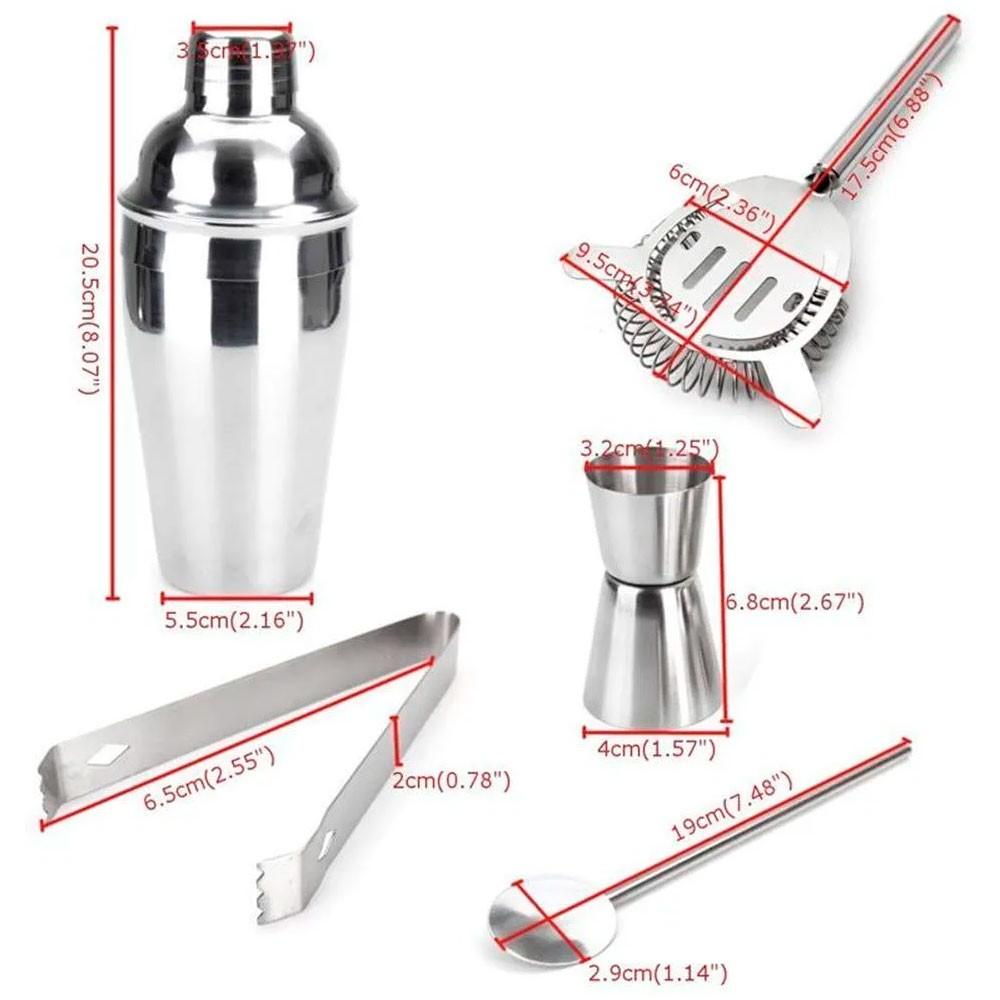 Kit Bar Coqueteleira Profissional c/ 5 Peças em Aço Inox