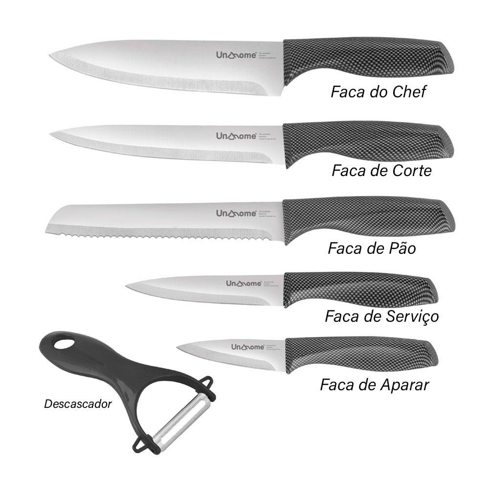 Kit de Facas em Aço Inox c/ 5 Peças e Descascador de Legumes