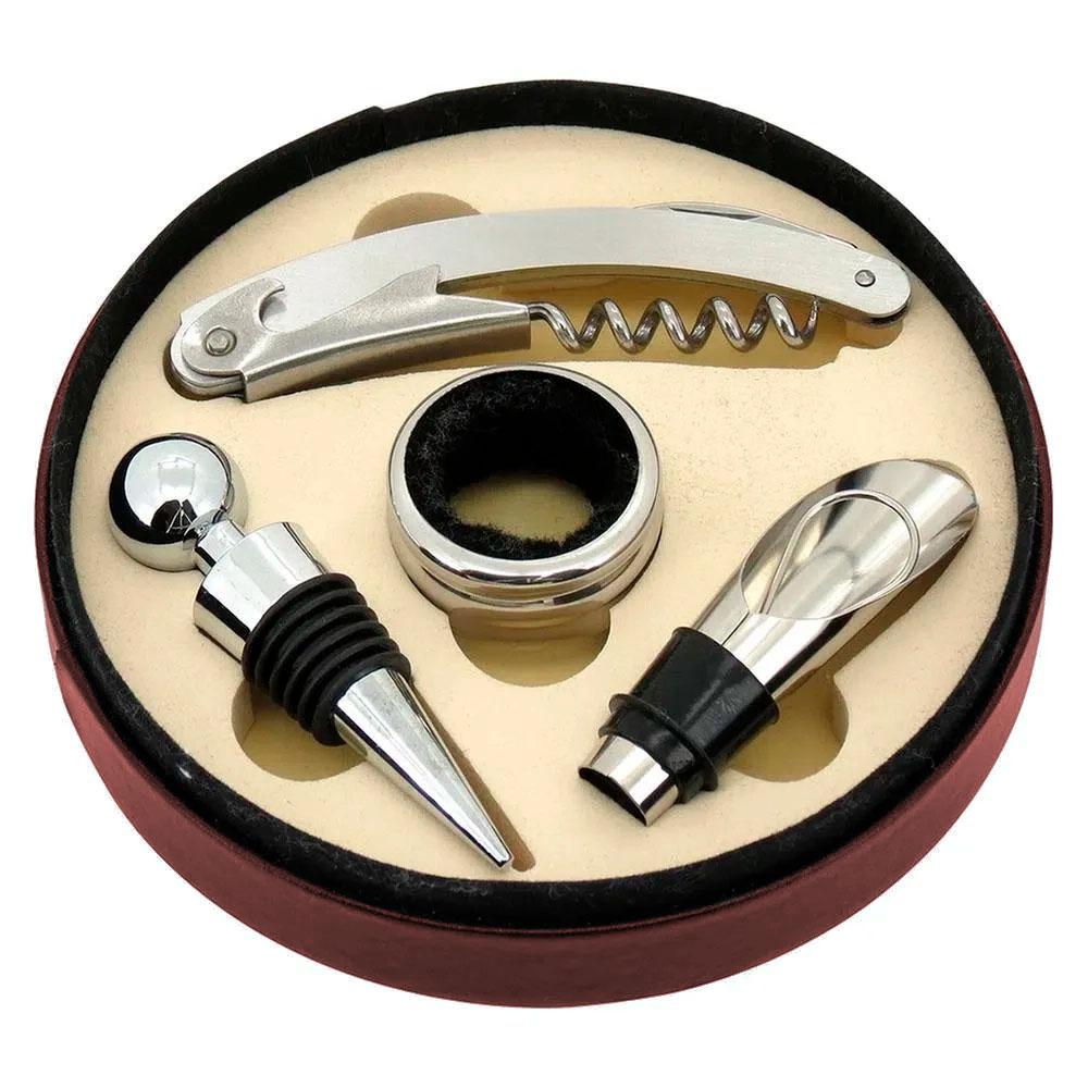Kit de Acessórios p/ Vinho c/ 04 Peças em Estojo Sintético