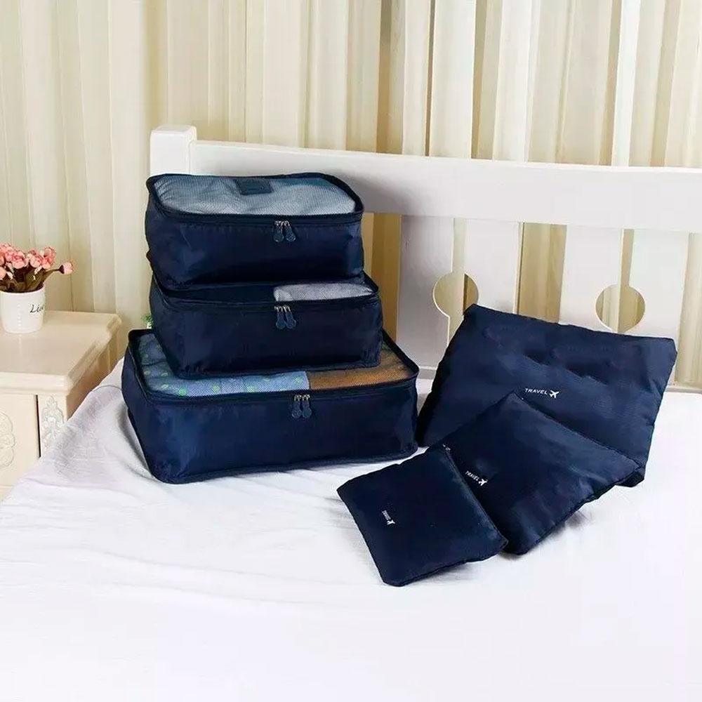 Organizador de Mala p/ Viagem c/ 6 Peças p/ Roupas e Sapatos