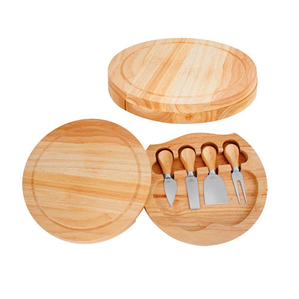 Conjunto p/ Queijos em Bambu e Aço Inox c/ 4 Peças e Suporte