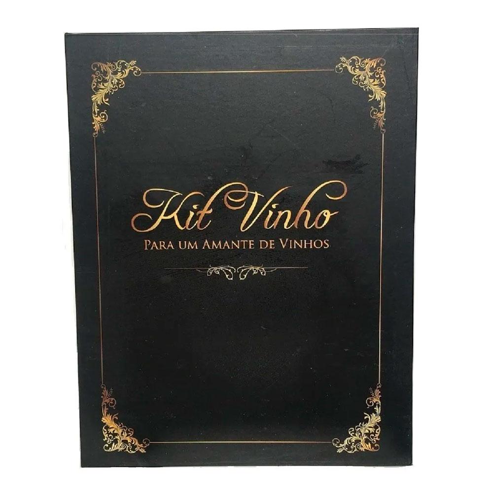 Kit de Acessórios p/ Vinho c/ 5 Peças - Estojo Livro