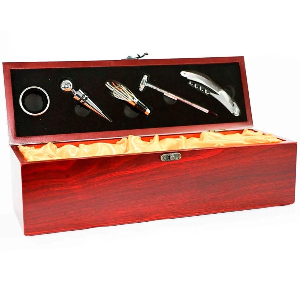 Estojo de Madeira Luxo Para Vinho Com 5 Acessórios em Metal