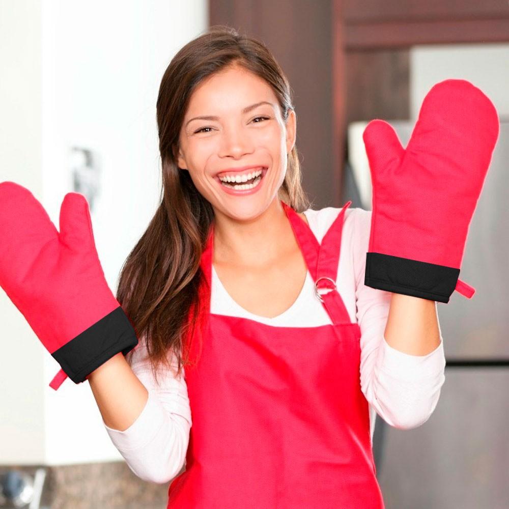 Luva Gourmet em Silicone p/ Cozinha c/ Tecido Protetor