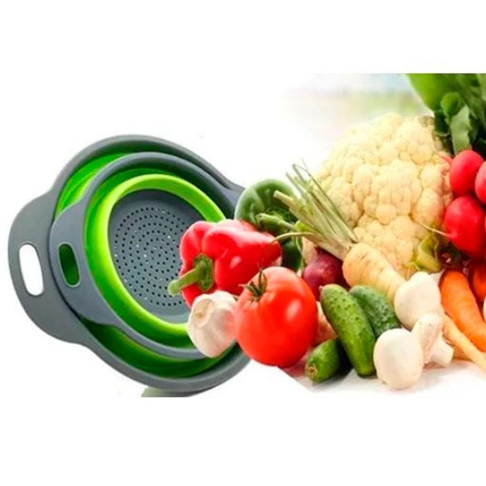 Mini Escorredor Retrátil Silicone p/ Frutas Verduras Massas