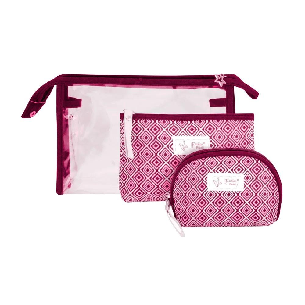 Necessaire Organizadora de Nylon - Kit c/ 3 Peças Gênero:Femino