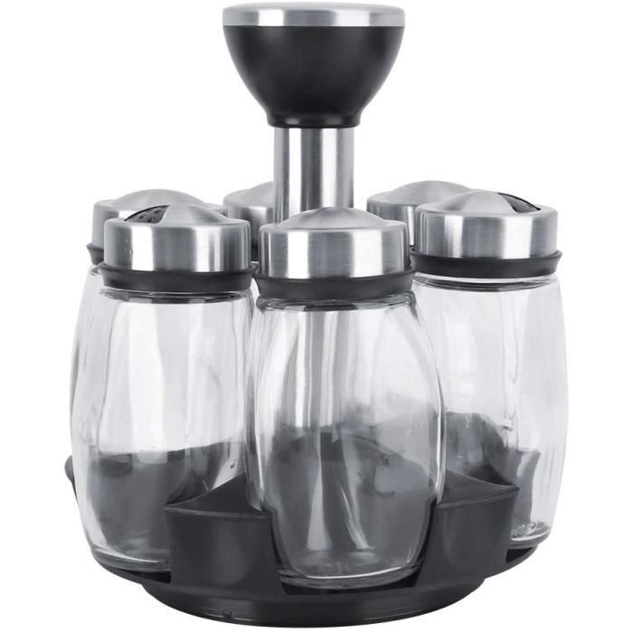 Porta Condimentos c/ 6 Peças em vidro e Base Giratória