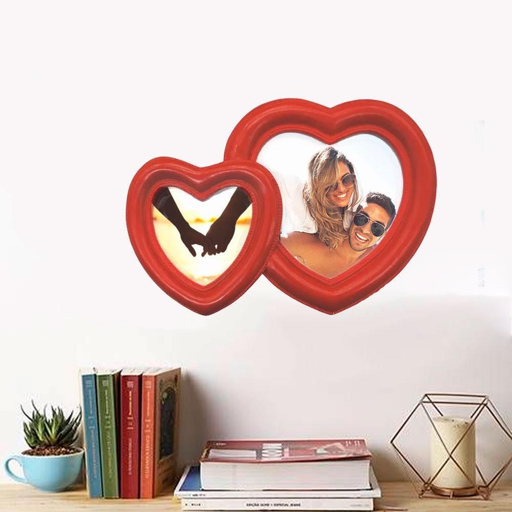 Porta Retrato Dois Corações Vermelho em Resina