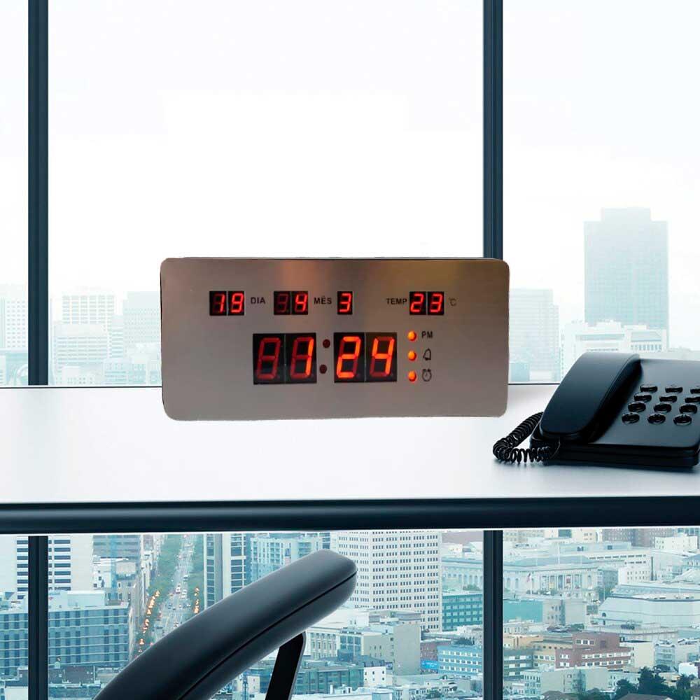 Relógio Led Parede / Mesa - Inox - Data, Termômetro e Alarme