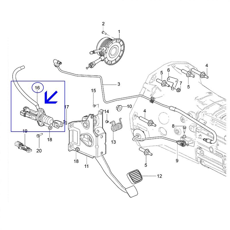 Cilindro Pedal da Embreagem - Nova S10 2012 á 2016 5 Marchas 24260163