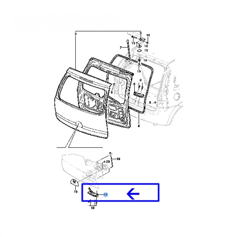 Fechadura da Maçaneta Tampa Traseira - Meriva 2003 á 2012 94773408