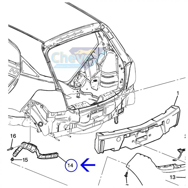 Guia Parachoque Traseiro LD - Agile 2010 á 2014 GM 94705170