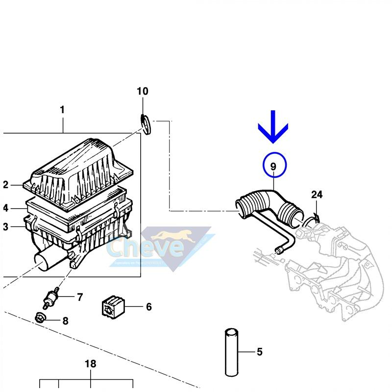 Mangueira do Filtro de Ar - Vectra 2.0 8V / 2.2 8V  1997 á 2005 GM 93240117