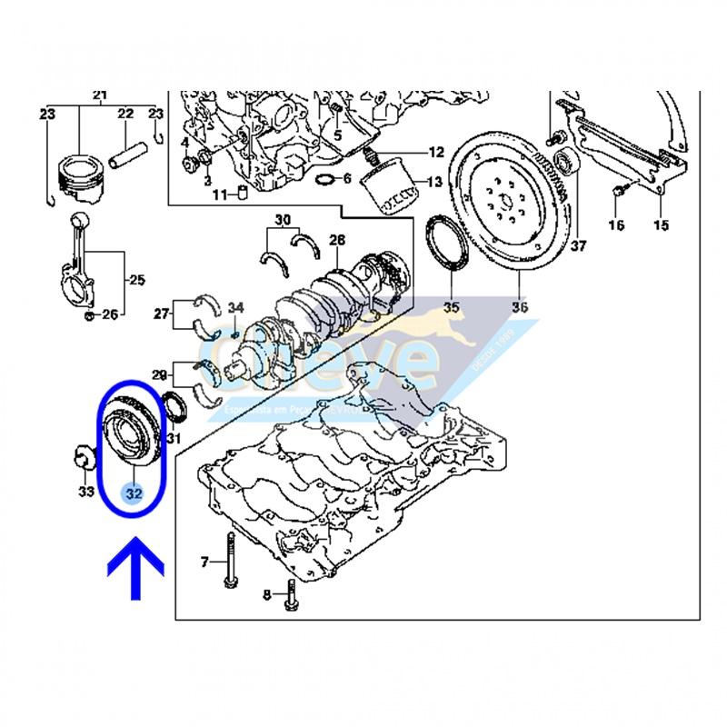 Polia do Virabrequim - GM/Tracker 2.0 16V Gas. - Suzuki/Gran Vitara 2.0 16V 93377539