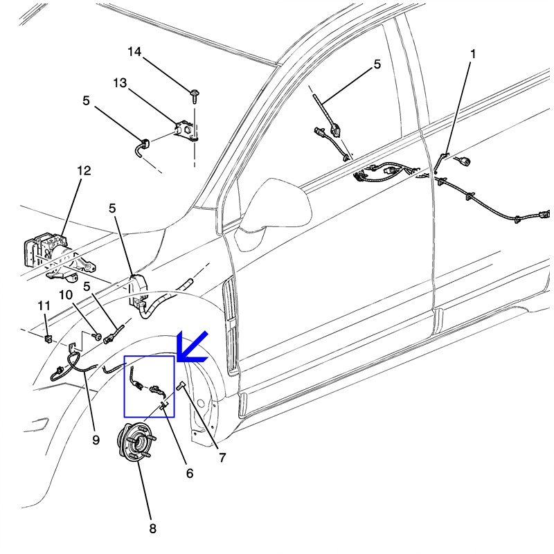 Sensor ABS Roda Dianteira - Captiva 2.4/3.0/3.6 2008 á 2017 96626078
