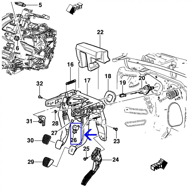 Sensor Pedal de Freio (Câmbio Automático) - Cruze / Tracker / Nova S10 13597428