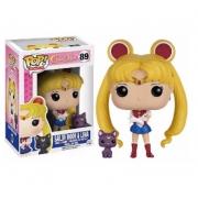 Boneco Funko Pop Anime Sailor Moon Com Bastão E Luna 90