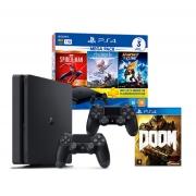 Kit Hardacore Mega Pack 15 - Console PS4 com 2 Controles + 3 Jogos do Mega Pack 15 + 1 Jogo PS4 Doom