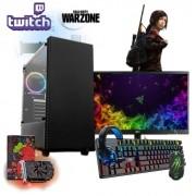 PC Gamer Nível 35 Completo p/ Streamer DDR4 Edition RX 550 2gb + 8GB 500GB HD + Monitor + Kit Gamer