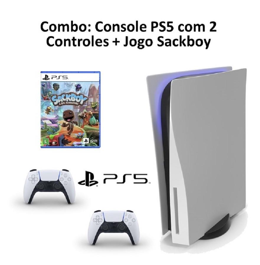 Combo: Console PS5 com 2 CONTROLES + Jogo Sackboy