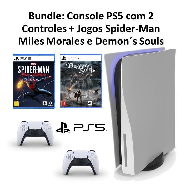 Console PS5 com 2 CONTROLES + 2 Jogos: Spider-Man Miles Morales + Demon´s Souls