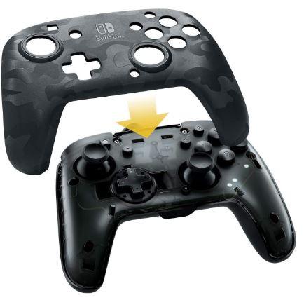 Controle Nintendo Switch Com Fio Faceoff Camuflado Pro Preto