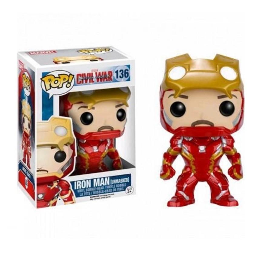 Funko Pop Marvel Captain America Civil War Exclusive - Iron Man (Unmasked) 136