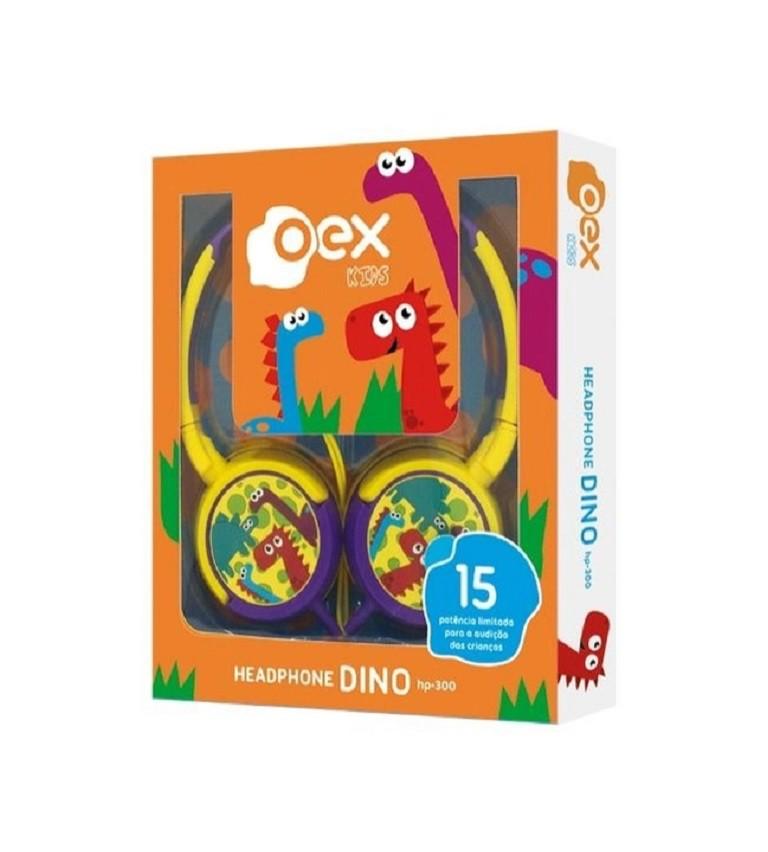 Headphone Dino Amarelo e Roxo